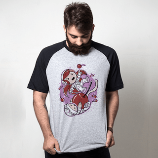 CAMISETA RAGLAN CINZA - CHERRY SPACE