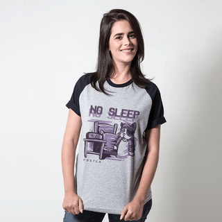 CAMISETA RAGLAN CINZA - NO SLEEP
