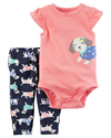 Carter's Set 2 piezas body + pantalon - Coral Perrito