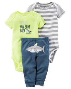 Carter's Set de 3 piezas: 2 Bodies + Pantalon - Tiburon