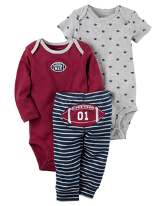 Carter's Set de 3 piezas: 2 Bodies + Pantalon - Pelota rugby Bordo