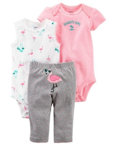 Carter's Set de 3 piezas: 2 Bodies + Pantalon - Flamenco Rosa