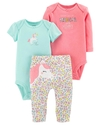 Carter's Set de 3 piezas: 2 Bodies + Pantalon - Unicornio