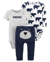 Carter's Set de 3 piezas: 2 Bodies + Pantalon - Oso