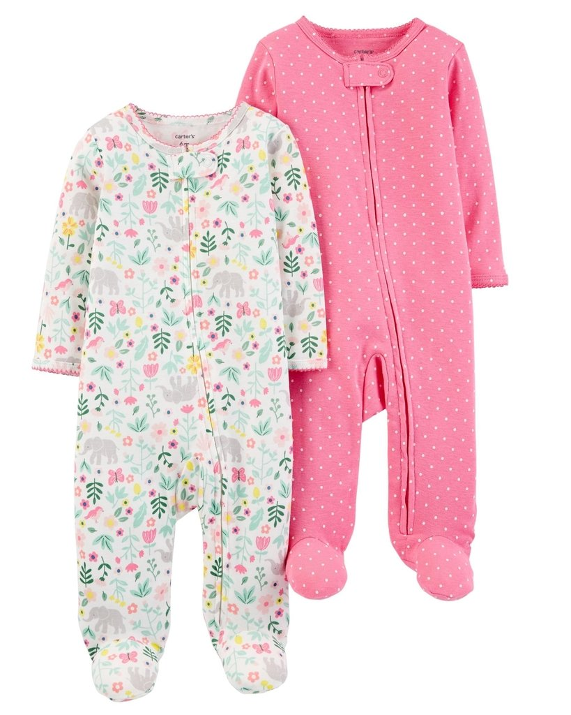 2e06a6374 Carter's Set de 2 pijama enterito de algodon - Blanco / Rosa Chicle