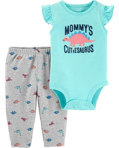 Carter's Set 2 piezas body + pantalon - Dinosaurio