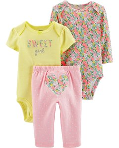 Carter's Set de 3 piezas: 2 Bodies + Pantalon - Corazon