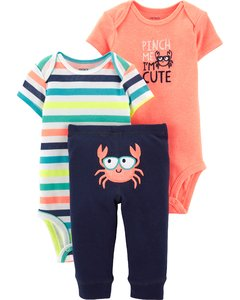 Carter's Set de 3 piezas: 2 Bodies + Pantalon - Cangrejo