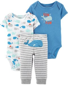 Carter's Set de 3 piezas: 2 Bodies + Pantalon - Ballena