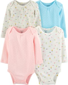 Carter's set de body manga larga - Pastel