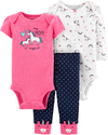 Carter's Set de 3 piezas: 2 Bodies + Pantalon -Unicornio Rosa Chicle