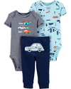 Carter's Set de 3 piezas: 2 Bodies + Pantalon - Autitos