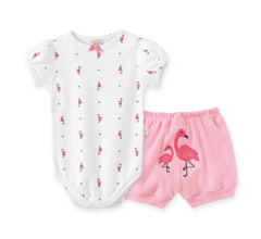 Body Bebê Manga Curta e Short Flamingo Rosa