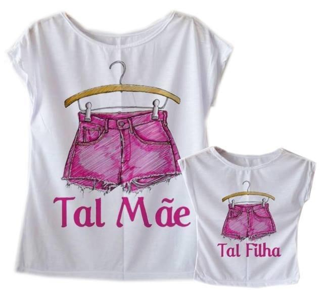 f043aeef6 Camiseta Tal Mãe Tal Filha Flame Belis Shorts Rosa