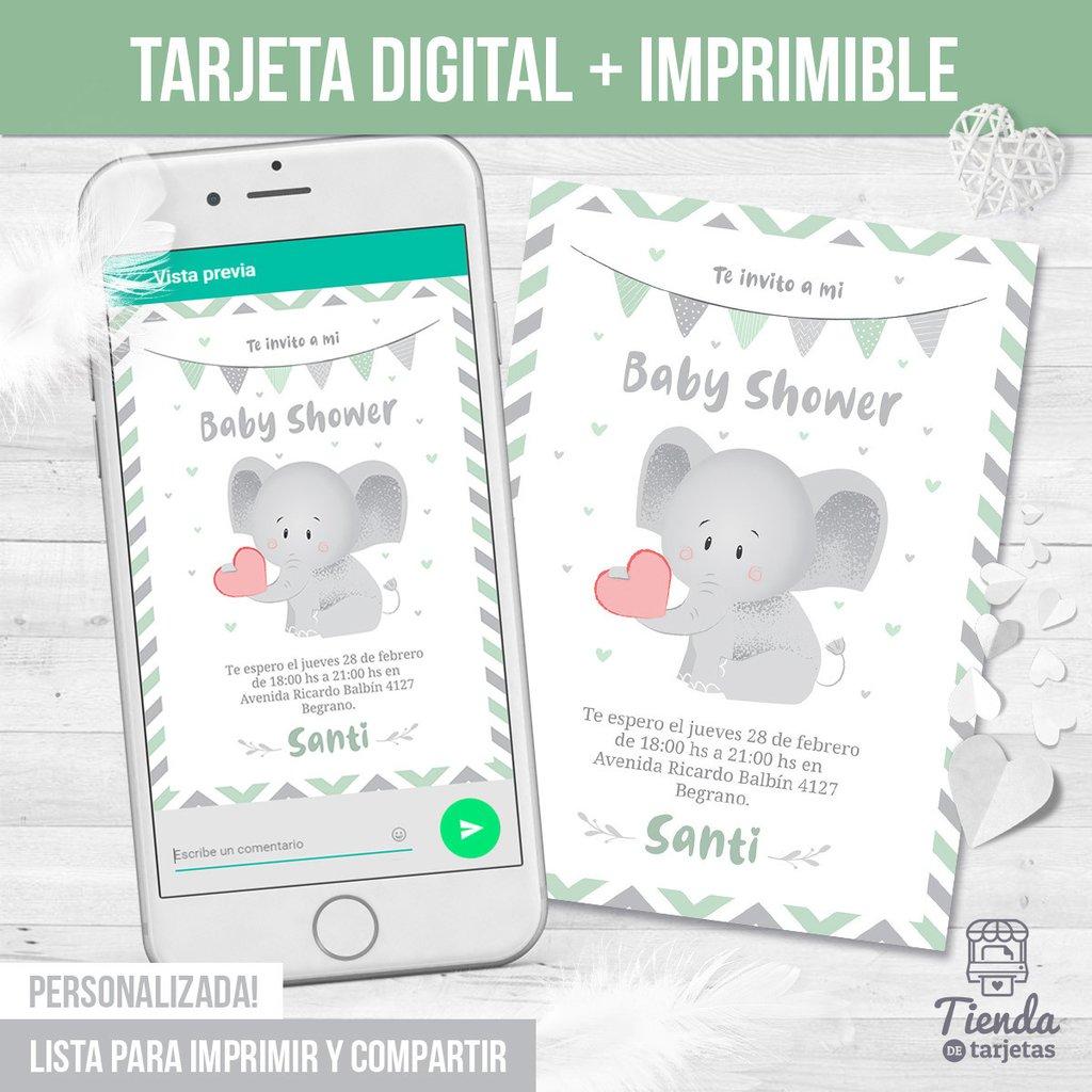 Invitación Elefante Bebé Con Corazón