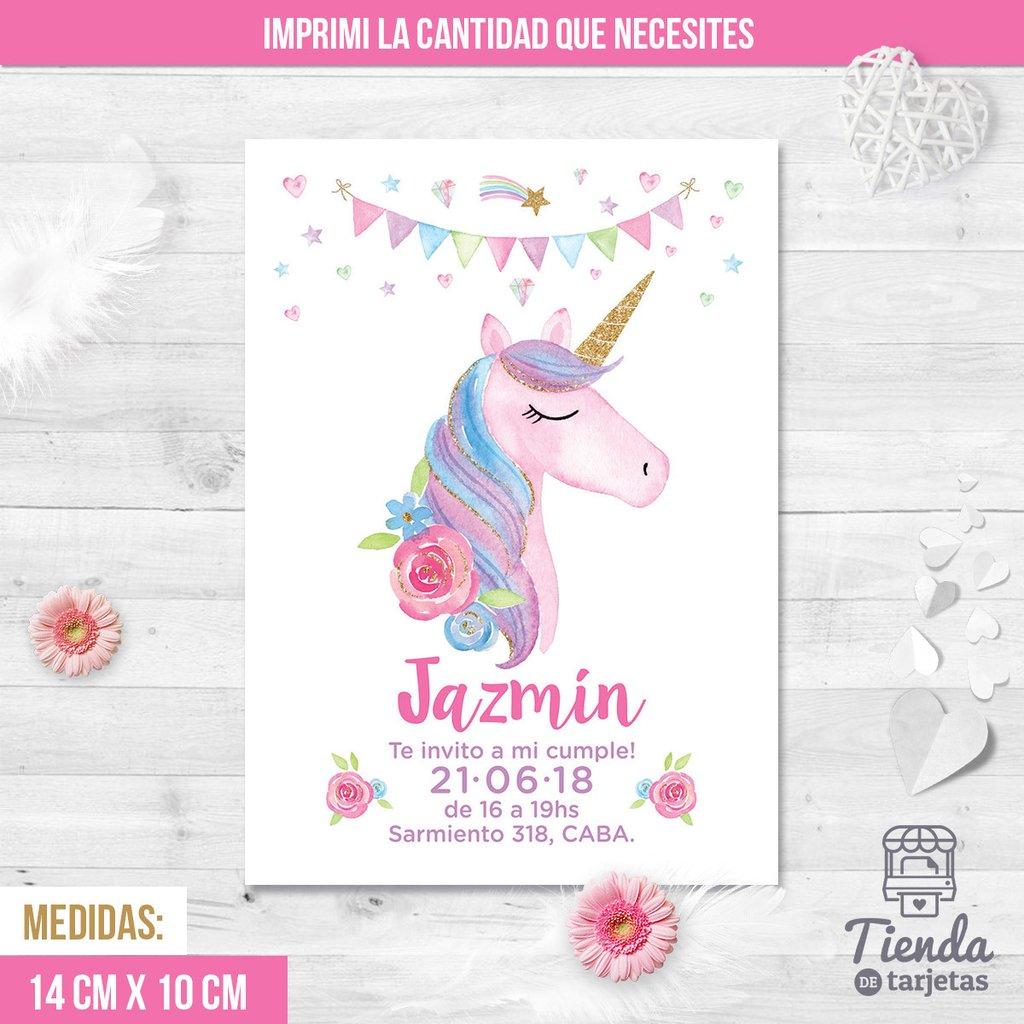 Invitación Unicornio Multicolor Con Dorado