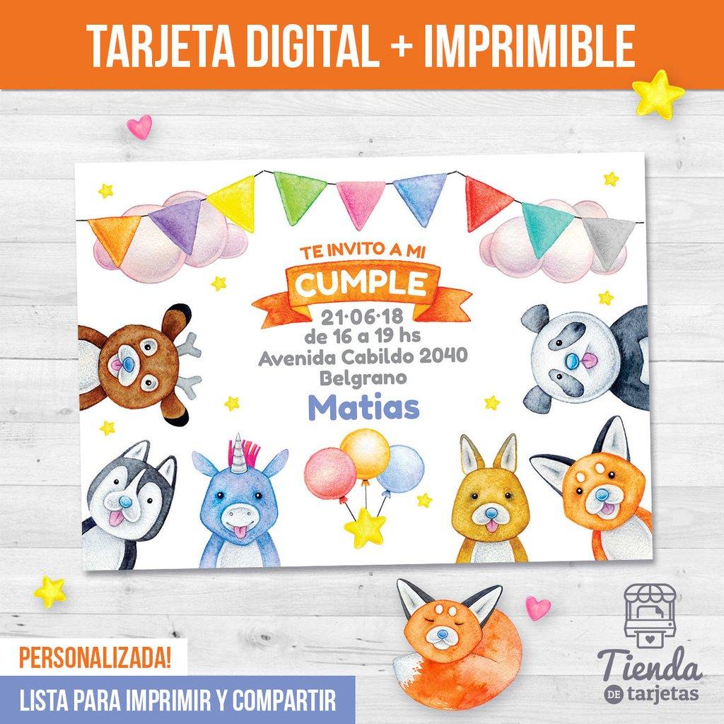 Invitación Fiesta Con Animalitos Tienda De Tarjetas