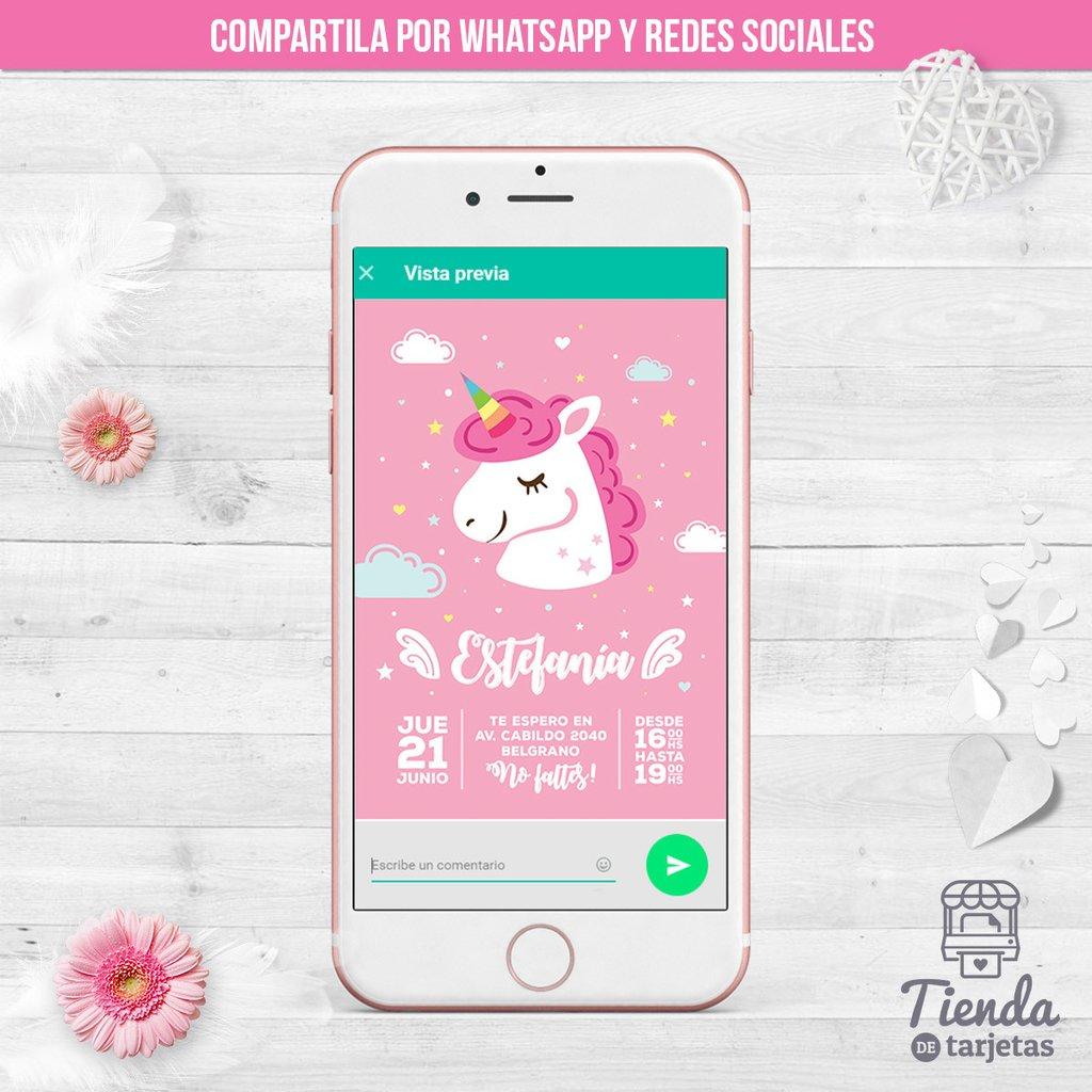 Invitación Unicornio Blanco Rosa