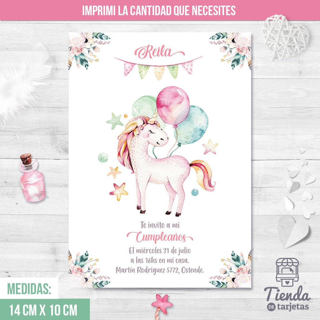 Invitación Unicornio Globos Tienda De Tarjetas