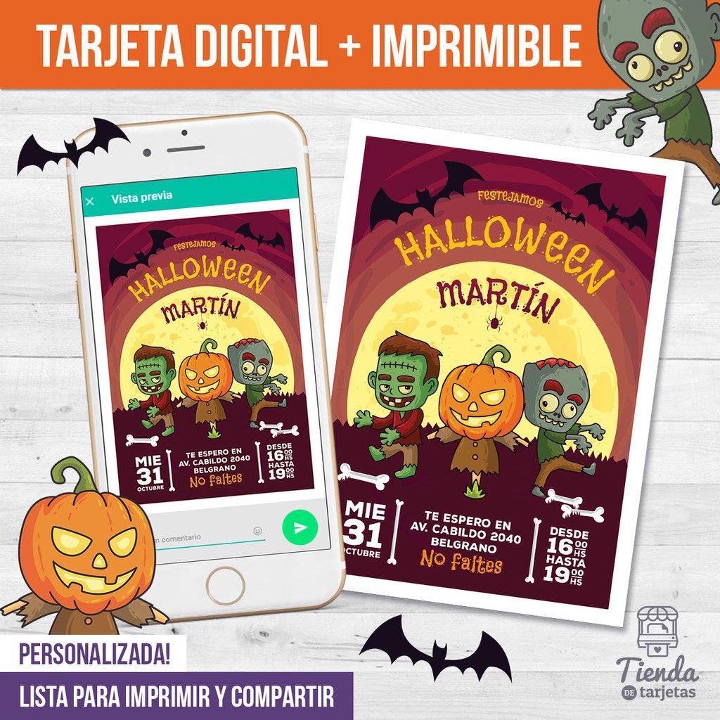 Invitación Halloween Zombies Tienda De Tarjetas