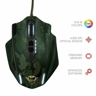 MOUSE GAMER GREEN CAMOUFLAGE - TRUST GXT 155C