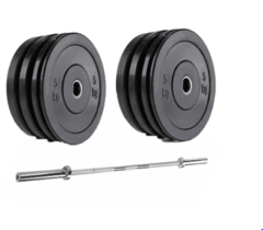 KIT DE ANILHAS CROSSFIT 100KG + BARRA OLÍMPICA MASCULINA 2,20mts. ONEAL