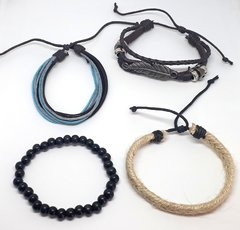 Kit com 4 Pulseiras Masculina Hippie Tribal na internet