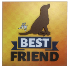placa 20x20cm MDF 3mm adesivada - Best Friends Cachorro Sentado