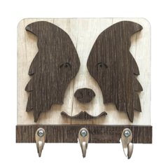 Porta Chaves 16x15cm MDF 6mm Texturizado - Border Collie 3 Ganchos
