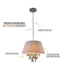 LUSTRE NEW DIAMOND 40CM BCO STAR(142000029) - Loja Luminar