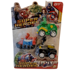Pack X3 Vehiculos Avengers Hulk, Spiderman y Batman Alternativo Art B3