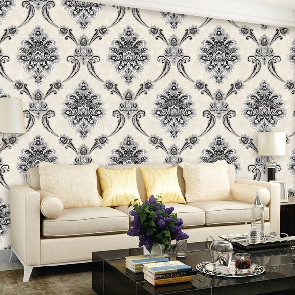 Papel Parede Arabesco Off Preto