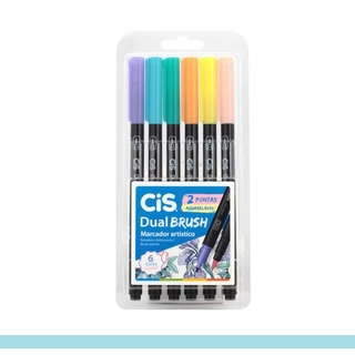 Kit Marcador CiS Dual Brush Pastel c/ 6 Cor Aquarelável
