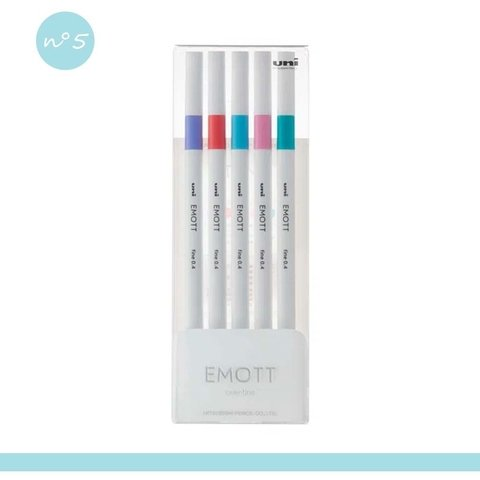 Kit Caneta Uni-Ball Emott Pop Color - 5 cores