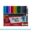 Kit Canetas Ponta Pincel Brush 15 Cores + 1 Blender