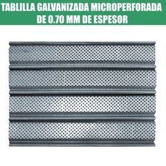 TABLILLA GALVANIZADA MICROPERFORADA DE 0.70 MM DE ESPESOR