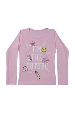 "Remera para Nena de Modal con Lycra Estampa de ""I am the future""."